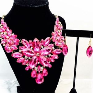 Pink Fuchsia Crystal Statement Set Prom Party Wed